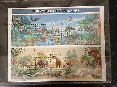 The World Of Dinosaurs Stamp Sheet - USA 32 Stamps Collection