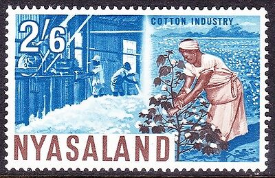 NYASALAND 1964 2/6 Shillings Blue/Brown Cotton Industry SG 207 MH
