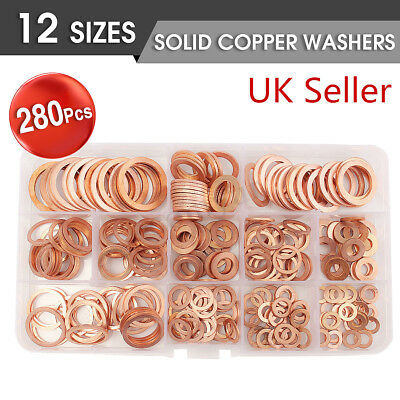 280Pcs Assortment Sump Plug Solid Copper Washer Set Tap Plumbing Garage Engine