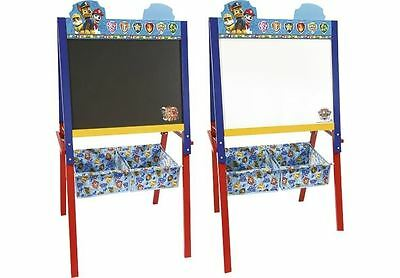 Paw Patrol Kids 2 in 1 Blue Easel Whiteboard Black Chalk Childrens Drawing Board