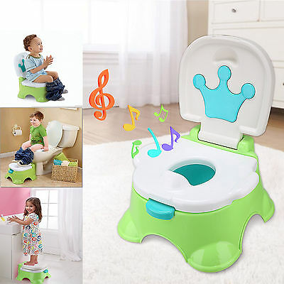 3 in 1 Baby Toddler Toilet Trainer Safety Green Music Potty Training Seat Fun
