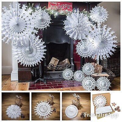 Paper Snowflake Shabby Chic Christmas Hanging Decorations Pack of 12