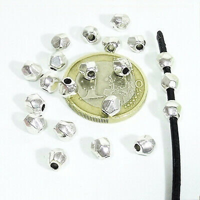 110 Tubos Facetados 5mm  T141C Plata Tibetano Faceted Beads Perline Argento Tubi