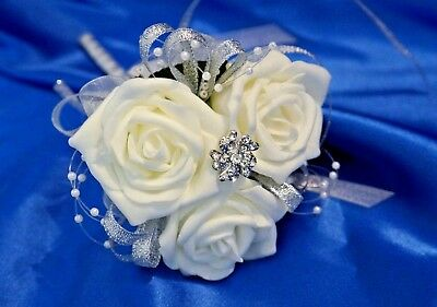 Bridesmaid flowergirl ivory vintage wand with diamante & pearls