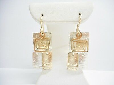 Marcia Sterling Silver Vermeil Gold Plated Swirl Square Dangle Earrings #1019