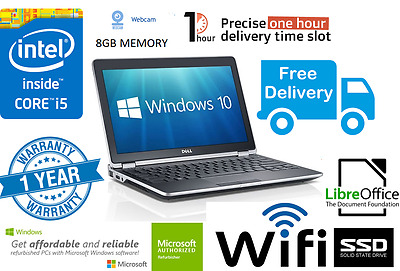 Fast Dell E6230 Laptop i5 3340M 2.7Ghz 8GB 128GB SSD Webcam Window 10 Wifi HDMI,