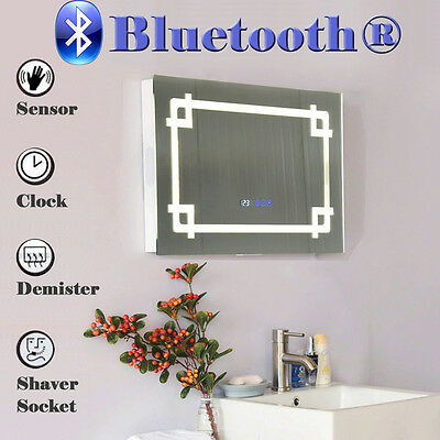 LED Illuminated Bathroom Mirror Bluetooth Music Speaker Demister Shaver Sensor