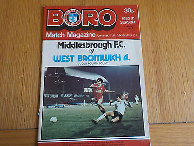 Middlesbrough v West Bromwich Albion programme FA Cup 24th January 1981