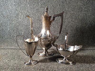 Vintage Gorham Plymouth Pattern Sterling Silver 3 Piece Tea/Coffee Service