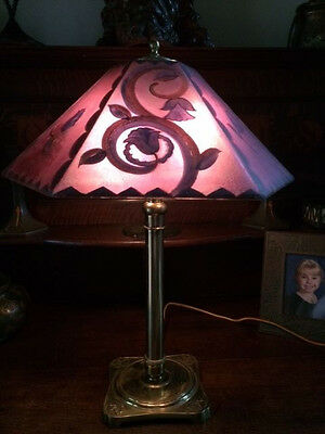 pairpoint reverse painted arts crafts victorian antique vintage lamp handel era