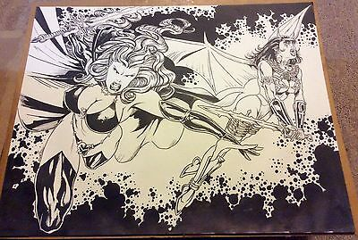 "Sexy Lady Death Chaos Purgatori Original Art Mark Brown Peter Temple 19"" x 24"""