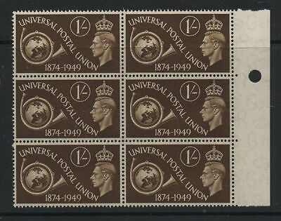 GB 1949 UPU SG502a retouched background error unmounted mint block 6 stamps