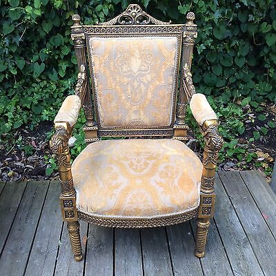 Chic Elegant Coach House Louis French Style Shabby Chic Throne Gold Gilt Chair