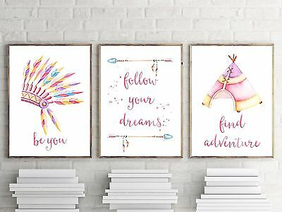 Set of 3Nursery Bedroom Decor Wall Art Print- Baby Girls- TRIBAL WATERCOLOUR