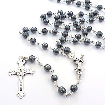 Christian genuine round black hematite rosary beads silver metal 6mm Catholic
