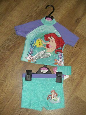 Ex store Disney Ariel mermaid 18-24 months upf 40+ uv 2 piece swim suit BNWT