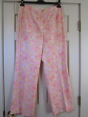 VTG 1960s/70s LILLY PULITZER Pink/Yellow Owl Print Straight Leg Pants 16 Large L
