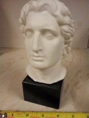 "medium ""Alexander"" bust Sculpture..with black marble base 7.5"" high"