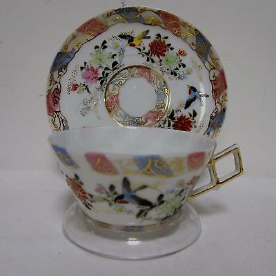 Signed Antique 19th Century Chinese Tea Cup Teacup Saucer Diamond Shaped Handle