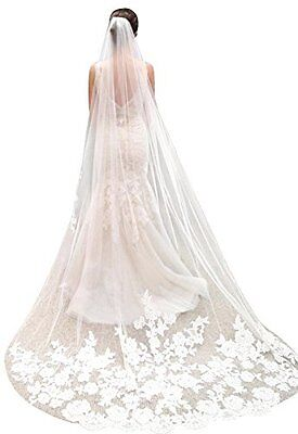 Bridal Veil Ivory Lace Tulle Edge Veil with Comb Cathedral Length Wedding Dress