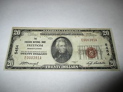 $20 1929 Freedom Pennsylvania PA National Currency Bank Note Bill Ch. #5454 VF!