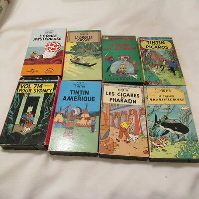 HERGE The Adventures of Tintin VHS TAPE LOT 8 FRENCH LANGUAGE FRANCAIS