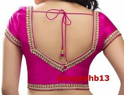 Readymade Saree Blouse, sari blouse, Ready to Wear Blouse, Pink Kundan Blouse