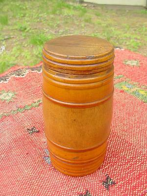 Antique 19th Century Turned Maple Wood Treen Ribbed Barrel Trinket Box Container