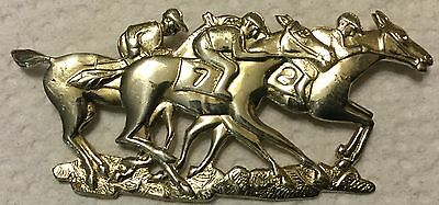 3 Racehorses Costumes Silver Pin