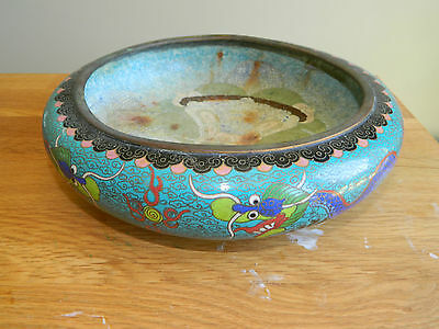 Antique Chinese cloisonne dragon large bowl
