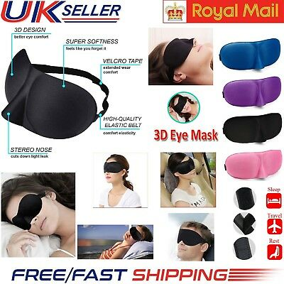 3D Soft Eye Mask Sponge Padded Travel Sleeping Blindfold Sleep Aid Cover