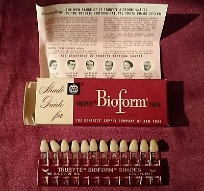Vtg TRUBYTE BIOTONE COLOR ORDERED DENTAL SHADE GUIDE PACKAGE 1970s DENTURE TEETH