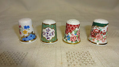 Job Lot / Collection Of 4 Royal Worcester Ceramic Thimbles - Different Designs