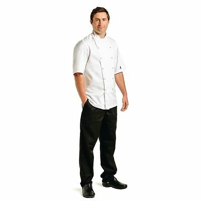 Le Chef Premium Short Sleeve Executive Chefs Jacket Unisex Uniform Cotton White