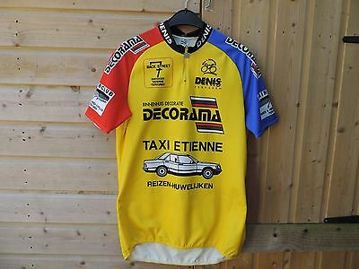 MENS Mans CYCLE SHIRT JERSEY Yellow DECCA SIZE L LARGE bicycle bike top GOOD