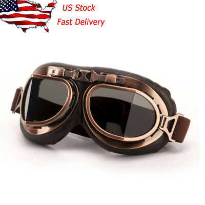Retro Vintage Aviator Pilot Motorcycle Cruiser Scooter Biker Goggles For Harley!