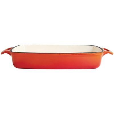 Vogue Rectangular Orange Cast Iron Dish Large Casserole Cookware Kitchenware