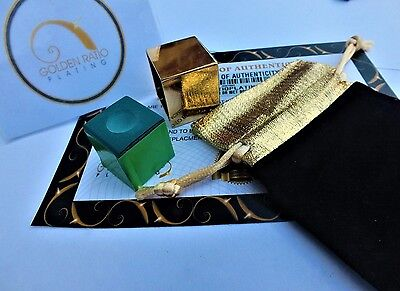 24ct Gold Plated Snooker Billiards Pool Chalk Holder Luxury Pouch And Free Chalk