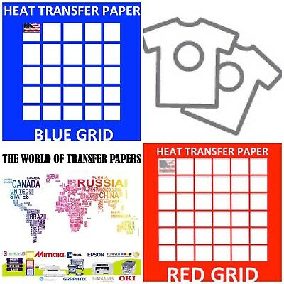 "InkJet T Shirt HEAT TRANSFER PAPER Combo 20 Sh Each  Dark & Red Grid 8.5""x11"""