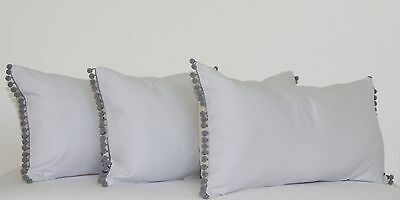 Oblong Rectangle Cushion Cover Bolster Pale Grey Silver Pom Pom French Country~~