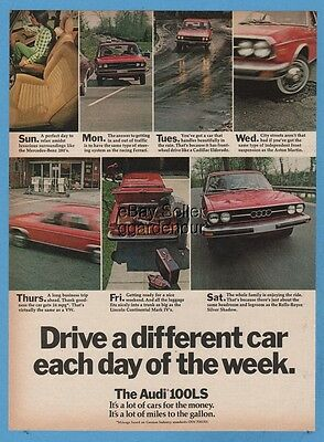 1974 Audi 100LS 100 LS Drive a Different Car Each Day of the Week Car Photo Ad