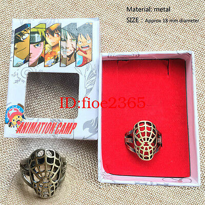 Marvel Superhero Spider-Man Finger Ring Meatl Hollow Cosplay Jewelry Gift + BOX
