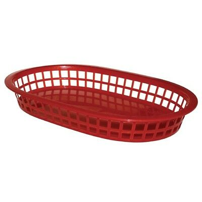 6x Olympia Oval Food Basket Red 275x175mm Storage Restaurant Dishwasher Safe