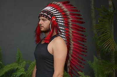 Red Indian Headdress, Native American chief Duck Feather Warbonnet Hat Costume