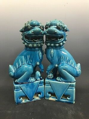 Vintage Pair of Chinese Porcelain Temple Guardian Lions Foo Dogs Turquoise Glaze