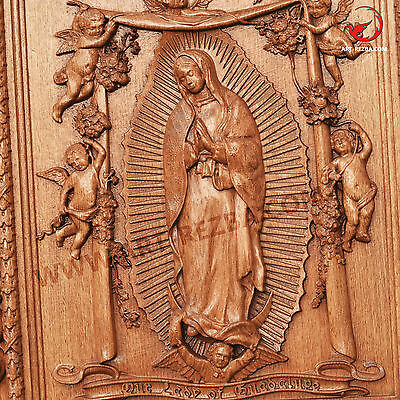 "26"" Our Lady of Guadalupe 3D Art Orthodox Wood Carved Icon -  Gift."