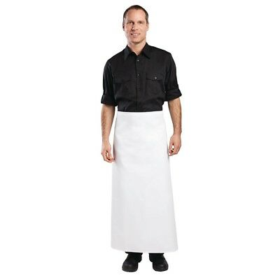 Whites Long Bistro Apron White Chef Kitchen Catering Cooking Restaurant