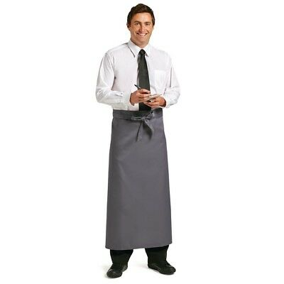 Whites Chefs Apparel Long Bistro Apron Charcoal Polycotton Kitchen Catering