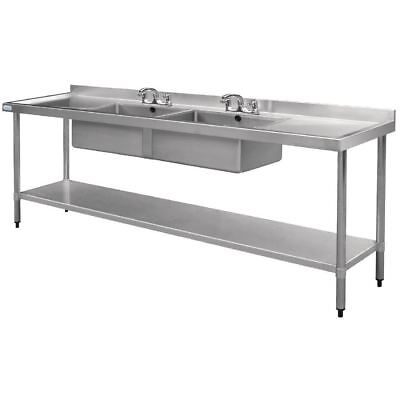 Vogue Stainless Steel Double Bowl Sink 700x2400mm Drainer Kitchen Furniture
