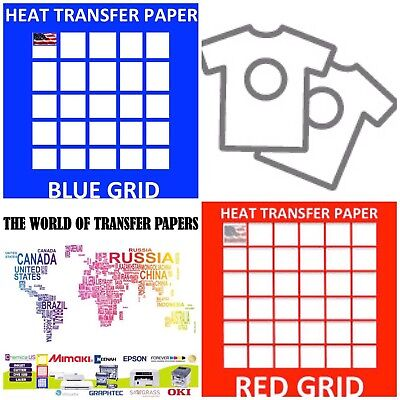 InkJet T Shirt HEAT TRANSFER PAPER Combo 25 Sh Each Dark & Red Grid 8.5x11""